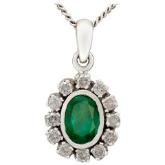 1.02 Carat Emerald Diamond White Gold Pendant