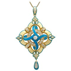 Antique Victorian 1.90 Carat Diamond and Enamel Yellow Gold Pendant