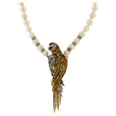Pearls 18 Karat Yellow and White Gold Diamonds Parrot Pendant Necklace