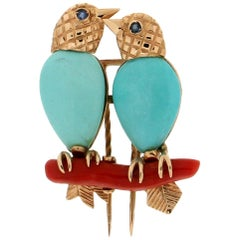 Birds 14 Karat Yellow Gold Turquoise Coral Brooch