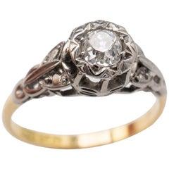 Vintage 0.50 Carat Old Cut Diamond Solitaire Ring 18 Karat Gold and Platinum