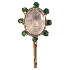 Antique Moonstone Cameo Child Head Emerald Gold Tie Stick Pin