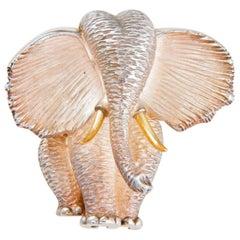 Estate Henry Dunay Elephant Brooch Pin Sterling Silver 18K Fine Designer Jewelry
