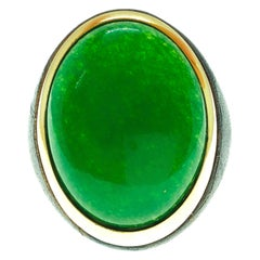 One-of-a-Kind 27 Carat Natural Green Jade Oxidized Brass Gold Cocktail Ring