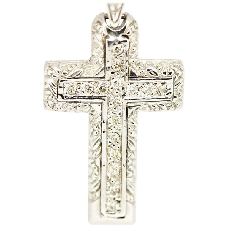 dc588d7ea 14 Karat White Gold 0.26 Carat Pavé Double Diamond Cross Necklace For Sale