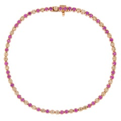 Jona Pink Sapphire Brown Diamond 18 Karat Rose Gold Tennis Bracelet