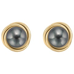 14 Karat Gold Love Knot Style Black Cultured Freshwater Pearl Stud Earrings