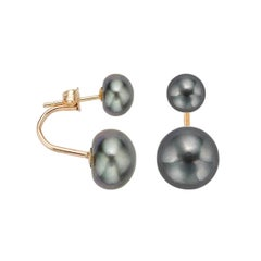 AAA Quality Black Button Freshwater Pearl Curved Tribal Earrings, 14 Karat Gold
