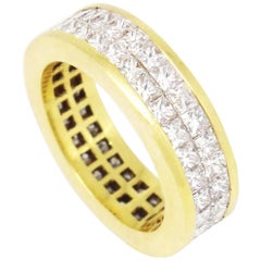 18 Karat Yellow Gold 5.10 Carat Princess Cut Diamond Eternity Band