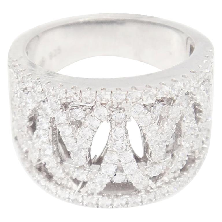 8d040e7fb Sterling Silver Pavé Open Intertwined Swarovski Crystal Ring For Sale