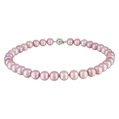 Freshwater Natural-Color Pink Pearl Choker Necklace With 14K WG Ball Clasp