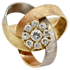 Ladies Tricolor Diamond Ring, 14 Karat Gold