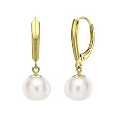 14k Yellow Gold AAA White Cultured Freshwater Pearl High Luster Leverback Earrin
