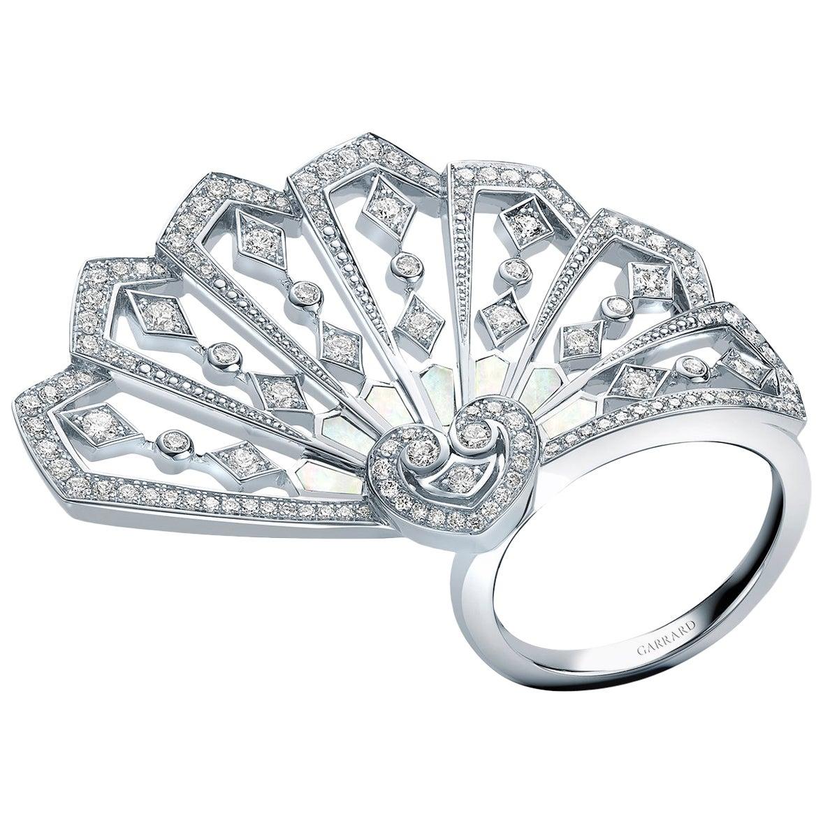 Garrard 'Fanfare' 18 Karat White Gold Mother of Pearl Ring