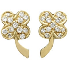 Vintage Italian Diamond and Yellow Gold 'Clover' Earrings Circa 1980