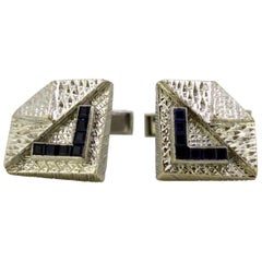 Kutchinsky, Vintage 18 Karat White Gold Cufflinks with Sapphires, London, 1965