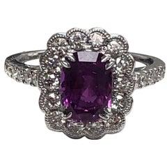 Julian B Designs Pink Sapphire and Diamond 14 Karat White Gold Ring