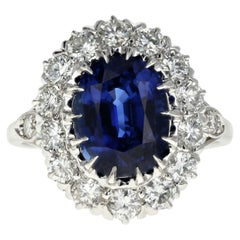 Platinum Royal Blue Madagascar Sapphire and Diamond Ring GIA Certified