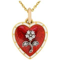 Victorian Diamond and Enamel Heart Pendant, circa 1880s