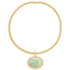 18 Karat Yellow Gold 20.75 Carat Opal and Diamond Halo Etruscan Weave Necklace