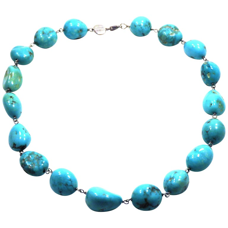 Turquoise White Gold Necklace Handcrafted in Italy by Botta Gioielli For Sale