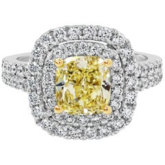 GIA Certified Light Yellow Cushion Diamond Double Halo Engagement Ring