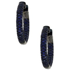 Pave Set Round Sapphire Inside Out Hoops