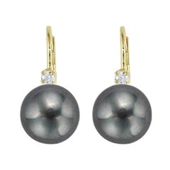 14 Karat Gold Black Freshwater Pearl Lever Back Cubic Zirconia Accent Earrings