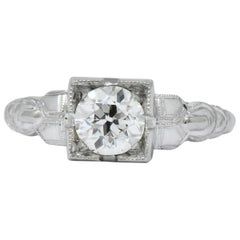 Retro 0.64 Carat Diamond 14 Karat White Gold Engagement Ring GIA