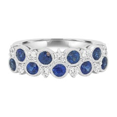 Blue Sapphire Round Diamond Fashion Cocktail Gold Band Ring