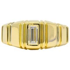 Modern 0.50 Carat Diamond 14 Karat Gold Unisex Ring