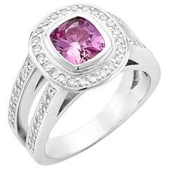 Platinum 1.48 Carat Cushion Cut Pink Sapphire with Diamond Halo Ring