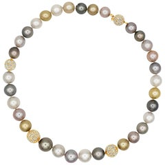 Multi-Color Pearl and Diamond Necklace
