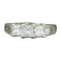 "Three-Stone Platinum Diamond Wedding Ring ""Diana"" 1.10 Carat"