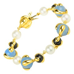 Marina B Blue Chalcedony, Black Jade, Diamond and Pearl Cardan Bracelet