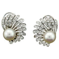 Tiffany & Co. Pearl and Diamond Earrings circa 1950s 1.00 Carat