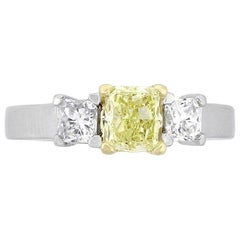 Radiant Cut Diamond Three-Stone Engagement Ring