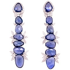 Ruchi New York Slice Blue Sapphire and Diamond Drop Earrings