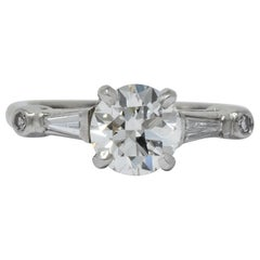 Retro 1.47 Carat Diamond Platinum Engagement Ring GIA