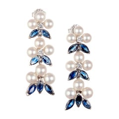 3.90 Carat Sapphire Diamond Pearl White Gold Dangle Drop Earrings
