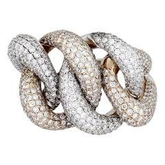 Pave Set Round Cut Diamond Interlocking Link Ring