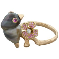 Tahitian Pearl Pink Sapphire Ruby Diamond Gold Bird Ring