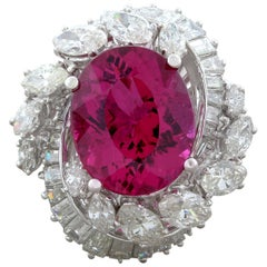 Midcentury Rubelite Tourmaline Diamond Platinum Ring