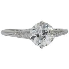 Edwardian 1.23 Carat Diamond Platinum Solitaire Engagement Ring GIA
