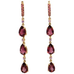 18 Karat Rose Gold Pink Tourmalines and Pink Sapphires Garavelli Long Earrings