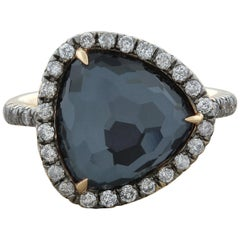 Hematite Quartz Diamond Gold Ring
