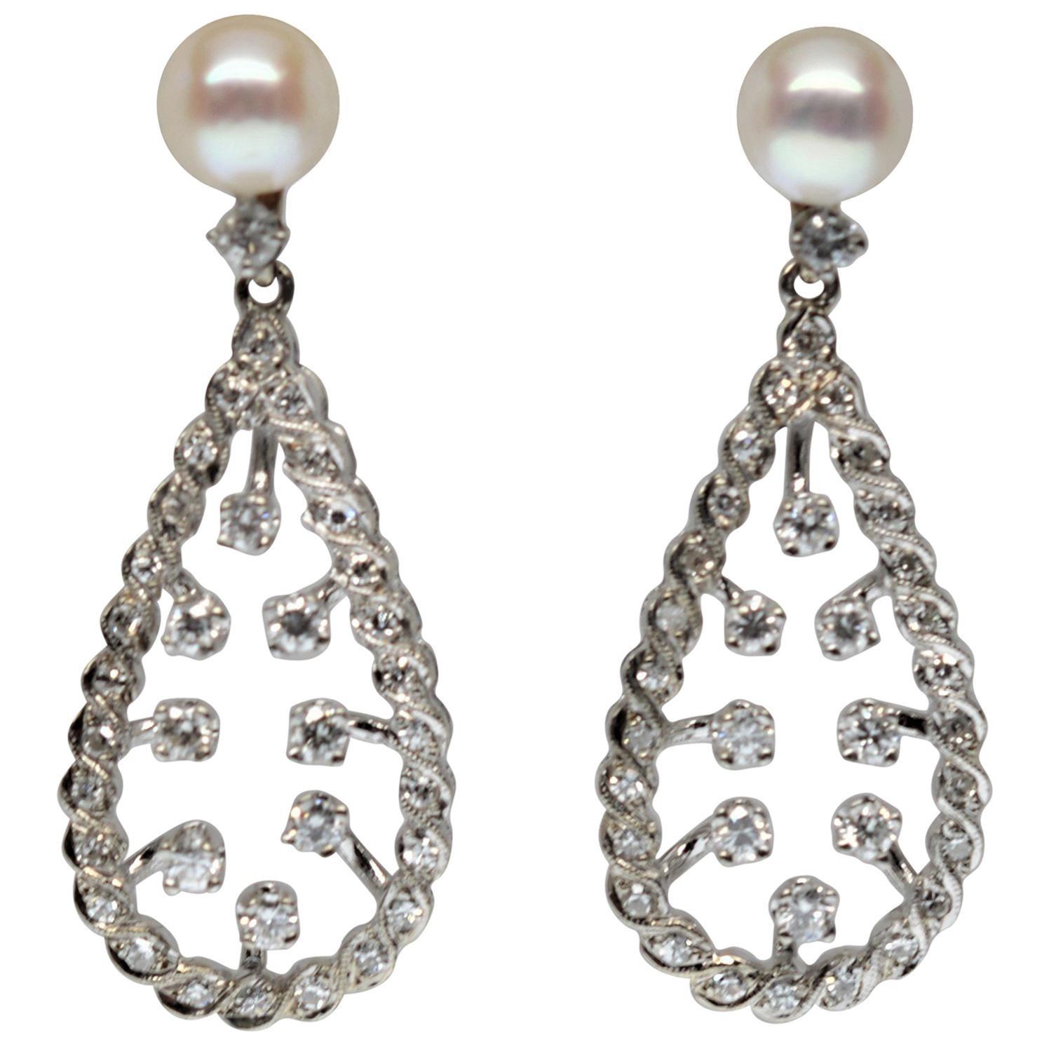 White Gold Diamond Pearl Tear Drop Earrings