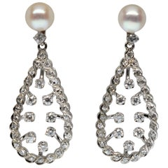 14K White Gold Diamond Pearl Drop Earrings
