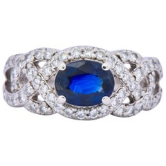 Contemporary 2.07 Carat Sapphire Diamond Platinum Anniversary Ring