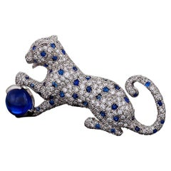Cartier Paris 1980s Diamond, Sapphire and Platinum 'Panthère' Brooch